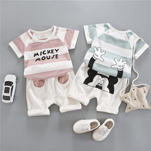 Boys and girls set childrens baby 2019 new cotton short sleeve clothes