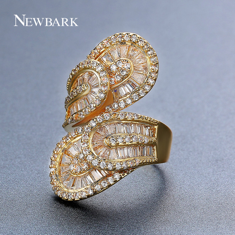 NEWBARK Especial Big Leaf Design Rings Stacked Double Leaves Channel Setting Gold Color Crystal For Female Wedding Ring Jewelry laconic and elegant two pieces of leaves design rings for female