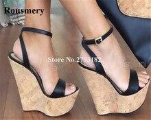 Women Summer New Fashion Open Toe Black Brown High Platform Wedge Sandals Big Size Ankle Strap Super 45
