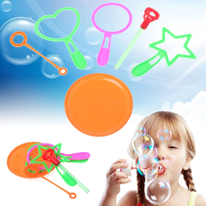 6pcs / 1 Set Blowing Bubble Soap Tools Toy Bubble Sticks Set Outdoor Toy Kids Toy
