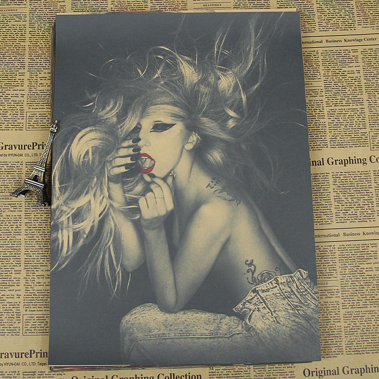Lady Gaga poster quack kraft paper material of European and American pop music singer sexy female star pictures