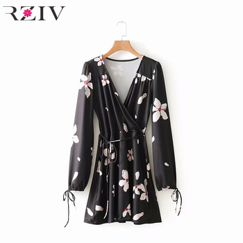 RZIV 2018 women dress casual solid color button decoration belt strap dress Платье