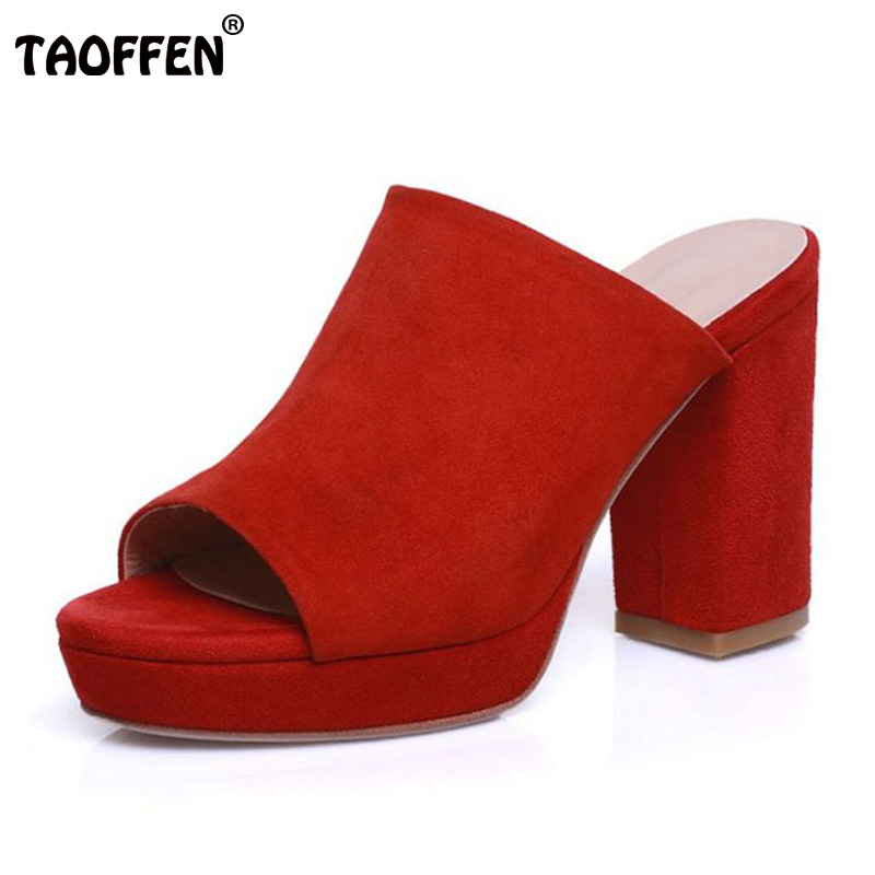 TAOFFEN 4 Colors Sexy Women Real Genuine Leather High Heel Sandals Women Platform Peep Toe Thick Heel Slippers Summer Shoes women flowers thick high heel open the toe genuine leather sandals lady real leather peep toe plum blossom summer shoes 20180118