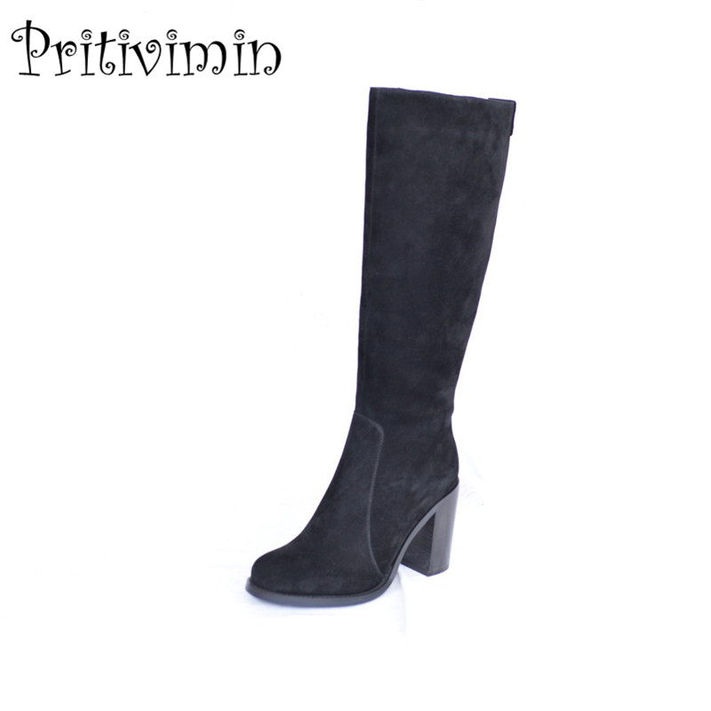 2018 new woman high heel knee high boots female winter warm real fur lined shoes ladies suede leather footwear Pritivimin FN64 vesonal brand faux fur women shoes flats 2017 winter warm velvet female fashion ladies woman sneakers casual footwear tsj 189