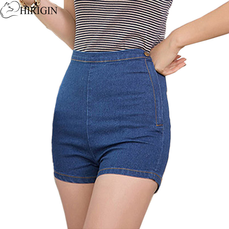 HIRIGIN 2017 New Sexy Women Slim High Waist Jeans Denim Tap Short Hot Shorts Tight A Side Button Wash Lady Short Pants Trousers american rag new black high waist button shorts msrp $45 dbfl