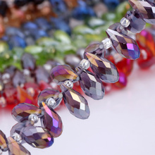 OlingArt Water droplets 6*12MM Austria Crystal Glass Beads charm purple AB colour Loose Spacer Bead for DIY Jewelry Making