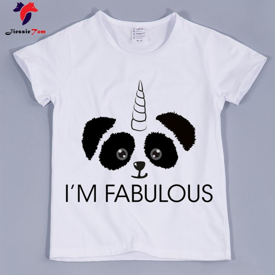 2018 Harajuku панда с единорогом забавные Футболки для мальчиков и девочек летний топ дети короткий рукав одежда милые детские Футболки для девоч...