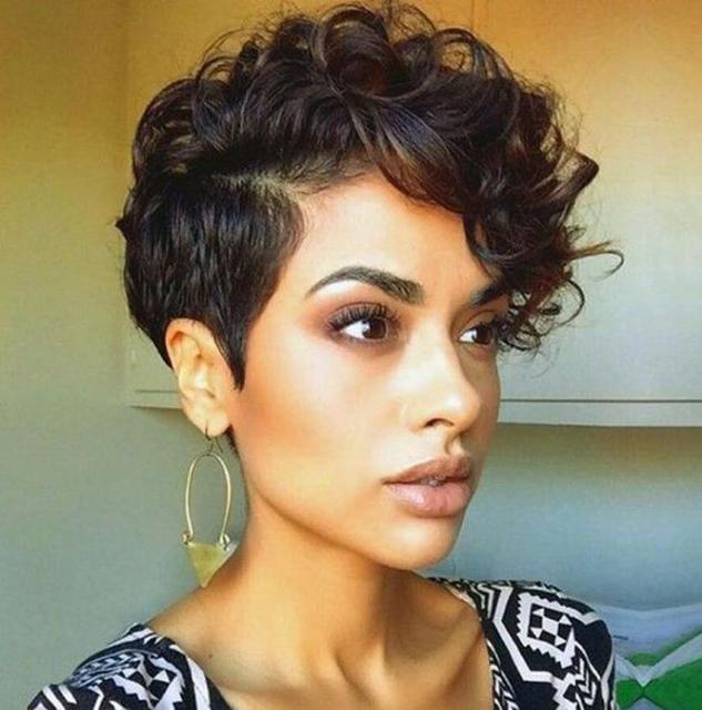 Kobiety Krótki Czarny Brązowy Przodu Kręcone Fryzura Włosy