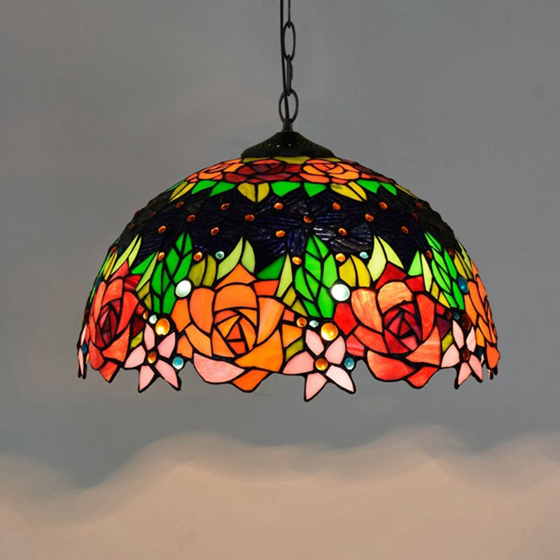 rose stained glass kitchen pendant lamp italian tiffany drop light bohemian multi color hanging light fixture E27/E26 1 light