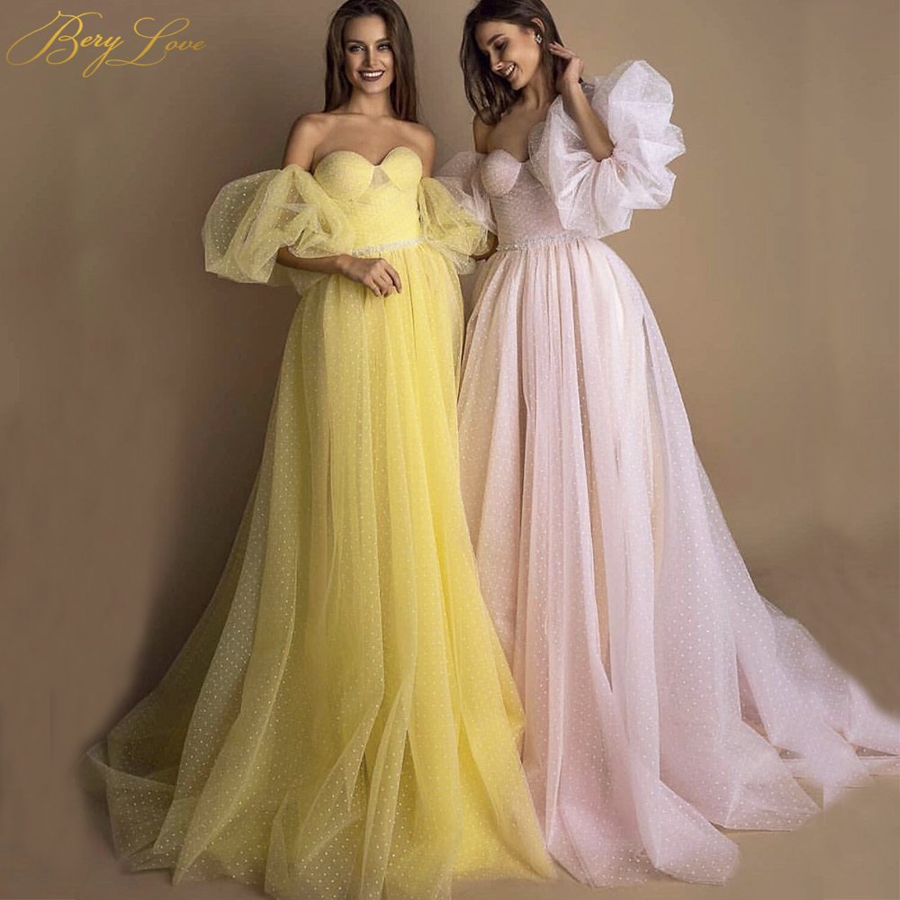 BeryLove Bright Yellow Prom Dress 2019 Pink Dot Tulle A-line Long Party Dress Formal  Latter Sleeves Elegant Dresses Vestido