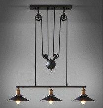 3 jefes E27 Edison Loft Vintage Retro Industrial polea hierro luz colgante de Loft Retro Vintage de hierro forjado negro lámparas de techo