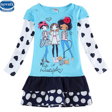 New arrive Girls dress 2-6T nova kids wear frocks children's clothes autumn child girl casual fashion printed nova baby frocks