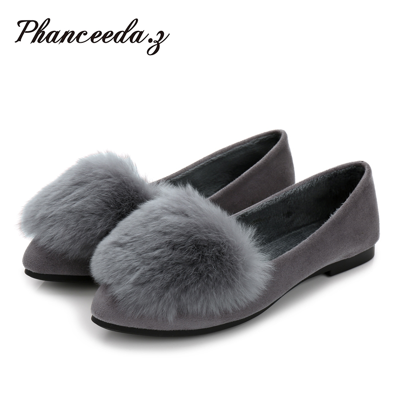 New 2017 Shoes Women Flats Top quality Black Flat European Style Fur Flat Pointed Toe Casual Shoes Free shipping Plus Size 5-10 new 2017 spring summer women shoes pointed toe high quality brand fashion womens flats ladies plus size 41 sweet flock t179