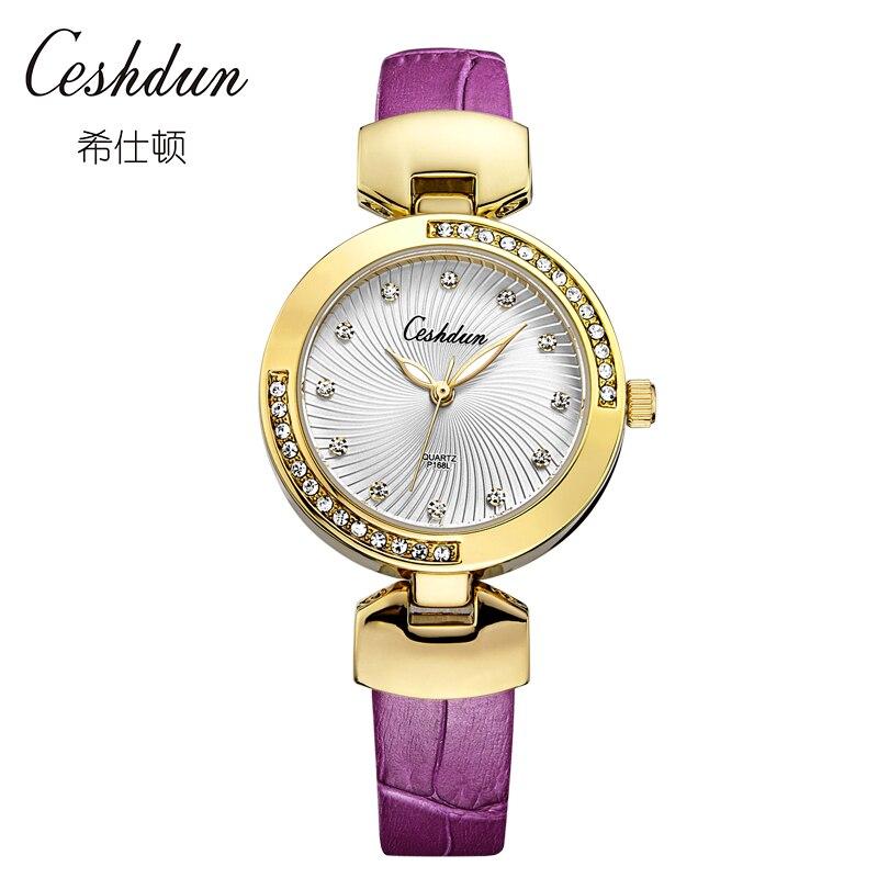 Bling Rhinestone CESHDUN Luxury Leather strap Quartz Watch Women Clock female Ladies Dress Wristwatch Gift Gold 2017 relojes стоимость