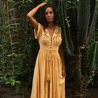 FollowYouLike 2019 Yellow Embroidery Boho Dress Summer Maxi Lace Sexy V Neck Beach Dress A Line Holiday Bohemian Dress Cotton