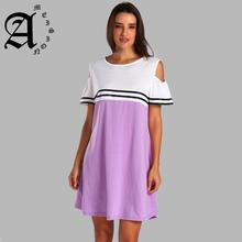 цена Ameision Summer Dress 2019 Women Elegant Striped Cold Shoulder Mini Tunic O Neck Dresses Casual Clothes for Women Plus Size 5XL