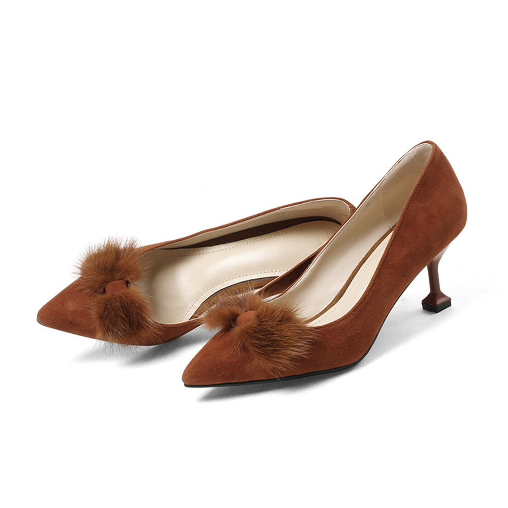 Del Punta Mujer Primavera Talón Brown negro Masgulahe Bombas 2018 Otoño Fino Moda Cuero De Mujeres Pie Tacones Zapatos Dedo Gamuza Altos CqCf8Yw