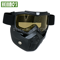 Hot Sales Perfecte Modulaire Masker Afneembare Goggles met Mond Filter voor Vintage Open Gezicht Half Helm Masker Gezicht Goggles
