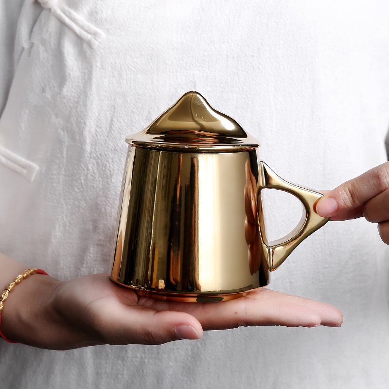 Gold Plated Mountain Cups Ceramics Handmade Mugs with Lid Home Breakfast Tea Cup Afternoon Milk Mug Perfect Gifts