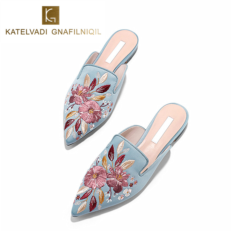 Luxury Embroidered Flats Mules Lady Slippers Blue Satin Slip On Pointed Toe Women Mules Outdoor Slipper Shoes Woman Slides K-148 suojialun brand 2018 autumn women luxury mules slippers pointed toe half slippers slip on loafers mules flip flops