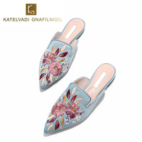 Luxury Embroidered Flats Mules Lady Slippers Blue Satin Slip On Pointed Toe Women Mules Outdoor Slipper Shoes Woman Slides K 148