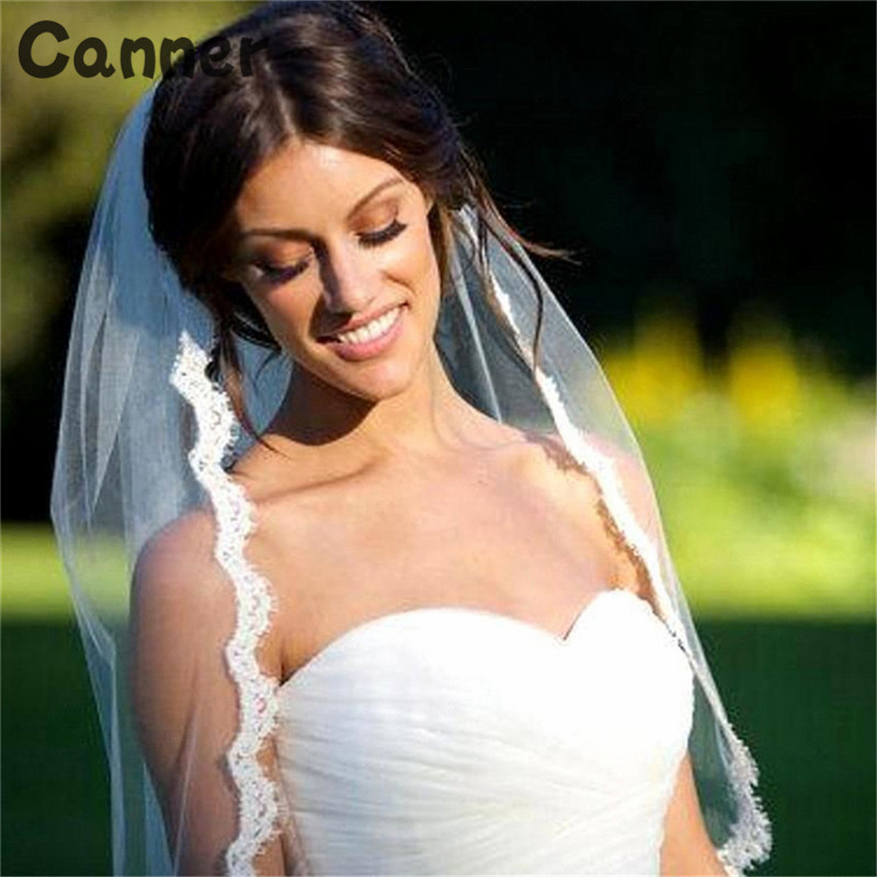 Canner Short Wedding Veil White Lvory One Layer Lace Flower Edge Appliques Bridal Veils Wedding Accessories