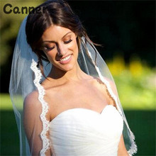 Canner Short Wedding Veil White Lvory One Layer Lace Flower