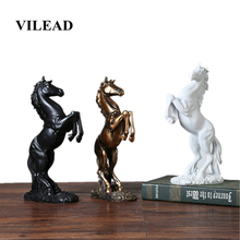 VILEAD 12.4 Resin Horse Figurines Creative Animal Statue Vintage Home Decor Europe Crafts Ornament for Weeding Decoration