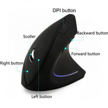 Mini Vertical Mouse Wireless Bluetooth 2.4G Optical Mouse 800/1000/1200/1600DPI Adjustable Ergonomic LED Light PC Mice For PC