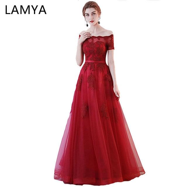 LAMYA Elegante Long A Linha vestidos de Noite Vestidos de Festa Da Princesa Barato plus Size Vestido Formal Vestido de Manga Curta Do Vintage Vestido de noiva vestido de festa