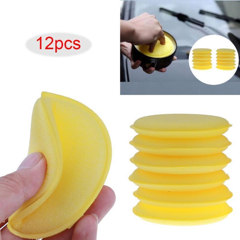 12pcs/lot Car Foam Waxing Pads Applicator Polish Vehicle Sponge Glass Cleaning Sponges polishing pad Tool Care
