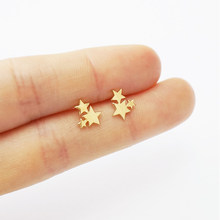 Women Golden Stainless Steel Cute Stud Earrings Carnations for Girls Animal Heart Leaves Cat Earrings Minimalist Jewelry(China)