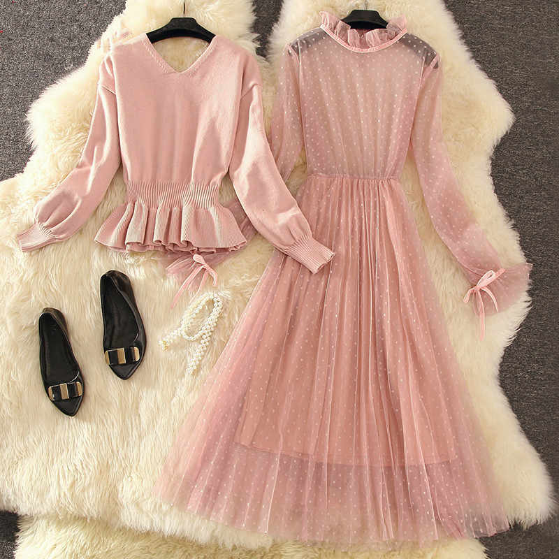 Two Piece Set Women Spring Autumn Dress 2019 Sweater Tops Korean Vintage Mesh black Dress Elegant Ladies Dresses Vestidos MY2367
