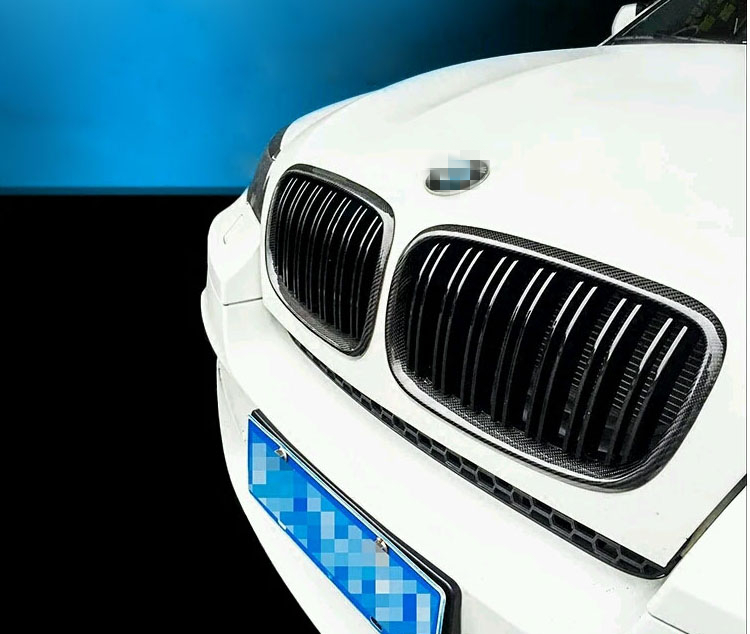 E70 E71 M-Look Kidney Carbon Fiber Gloss Black Front Racing Grill Grille for BMW X5 E70 and BMW X6 E71 2008-2013