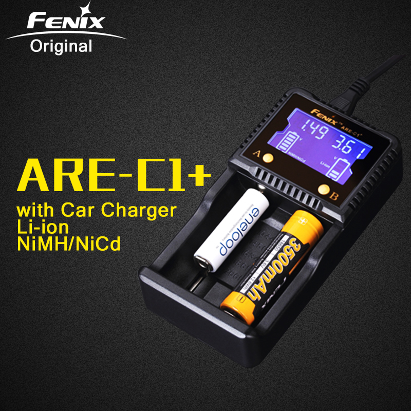 Original Fenix ARE-C1+ Intelligent Battery Charger Support AC DC Charging 2 Slots Smart Charger for Li-ion Ni-MH Ni-Cd 18650 AAA dc 12v 2a black battery analyzer tester charger li ion aa aaa 18650 ni mh intelligent volt voltage monitoring
