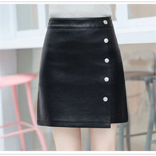 PU Leather Skirt 2018 New Fashion Black Single-Breasted Skirt Autumn Winter Large Size Irregular Female Pu Leather Skirt DT0364(China)