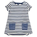 2017 New Brand  2-7 Years Girls Short Sleeve Blue Stripe Summer Dress Cotton Casual Dresses Kids Clothing KF047
