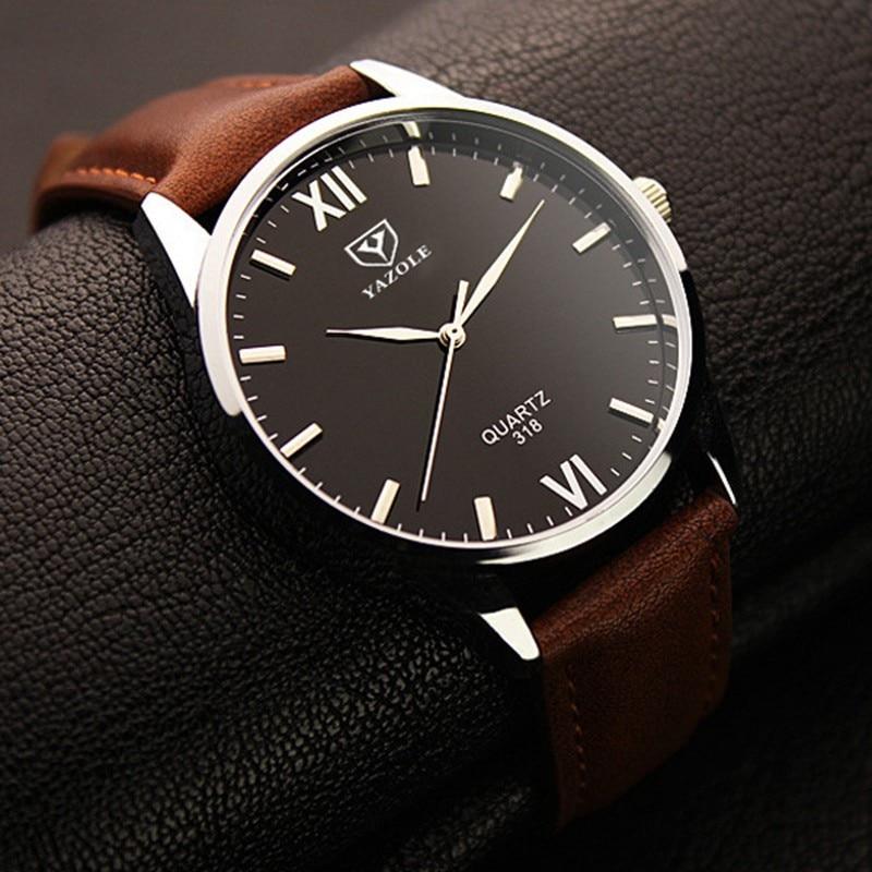 Yazole Brand Luxury Quartz Watch Men Famous Male Clock Leather Sports Watches Business Fashion Casual Dress Wrist Watch Cheap