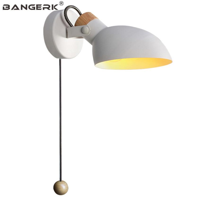 design nordico ajustar led lampada de parede loft decoracao ferro puxar interruptor moderno arandela luzes quarto