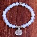 Árvore da Vida de Buda Beads Charm Bracelet Elástico Branco Moonstone Pedra Natural Strand Pulseira Pulseira Mulheres Homens Jóias
