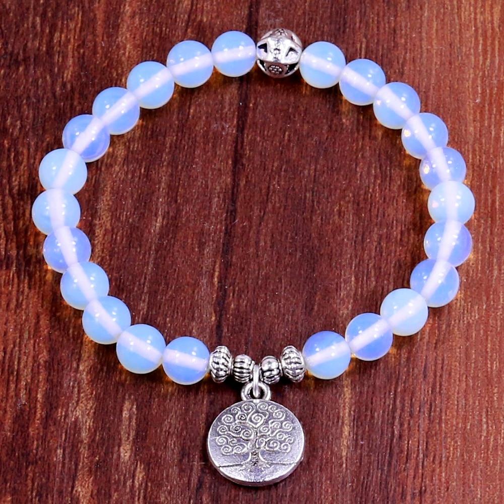 Tree Life Buddha Beads Bracelet Charm Elastic White Moonstone Natural Stone Stra