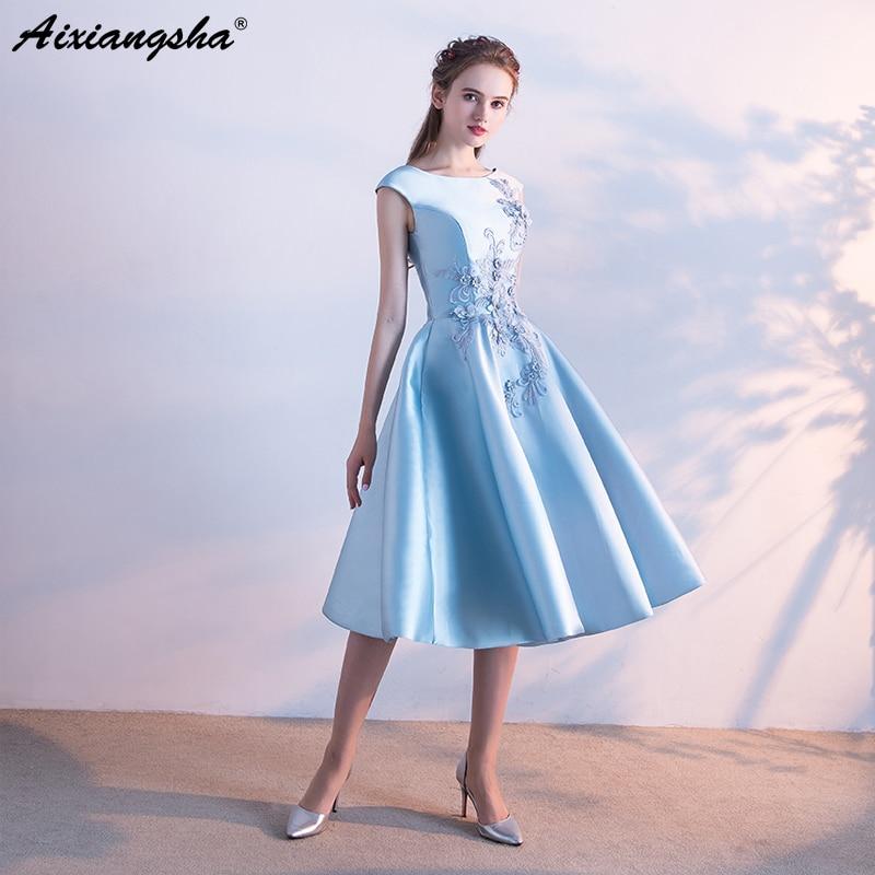 Plus Size Prom Dresses 2018 Cheap Scoop Tea Length Appliques Pearls