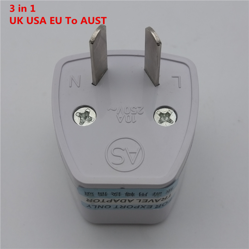 af002 hotsale best price 3 in 1 universal united states eu uk to au ac power plug socket travel charger adapter converter