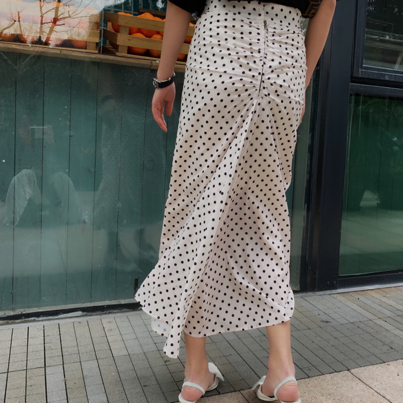 Dot Print Midi skirt Creased Gathered Back with zipper Woman Fashion Straight long skirts 2019