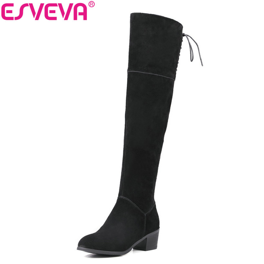 ESVEVA 2018 Women Boots Cow Leather + Scrub Black Winter Warm Ladies Shoes Western Square Heel Over Knee High Boots Size 34-39 esveva 2018 winter women boots over knee high boots real leather scrub boots square heels short plush ladies boots size 34 39