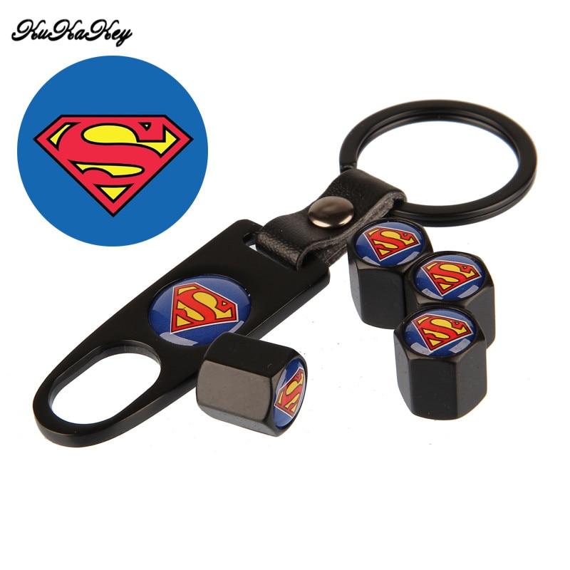 KUKAKEY 4 Caps +1 Key Chain Airtight Universal Wheel Tyre Air Stems Caps Air Bicycle Tire Valve Caps Superman Car Styling Emblem