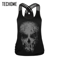Brand Clothing New Fashion Bustier Summer Tight Sexy Skull Vest T Shirts Women Tops Tank 3D