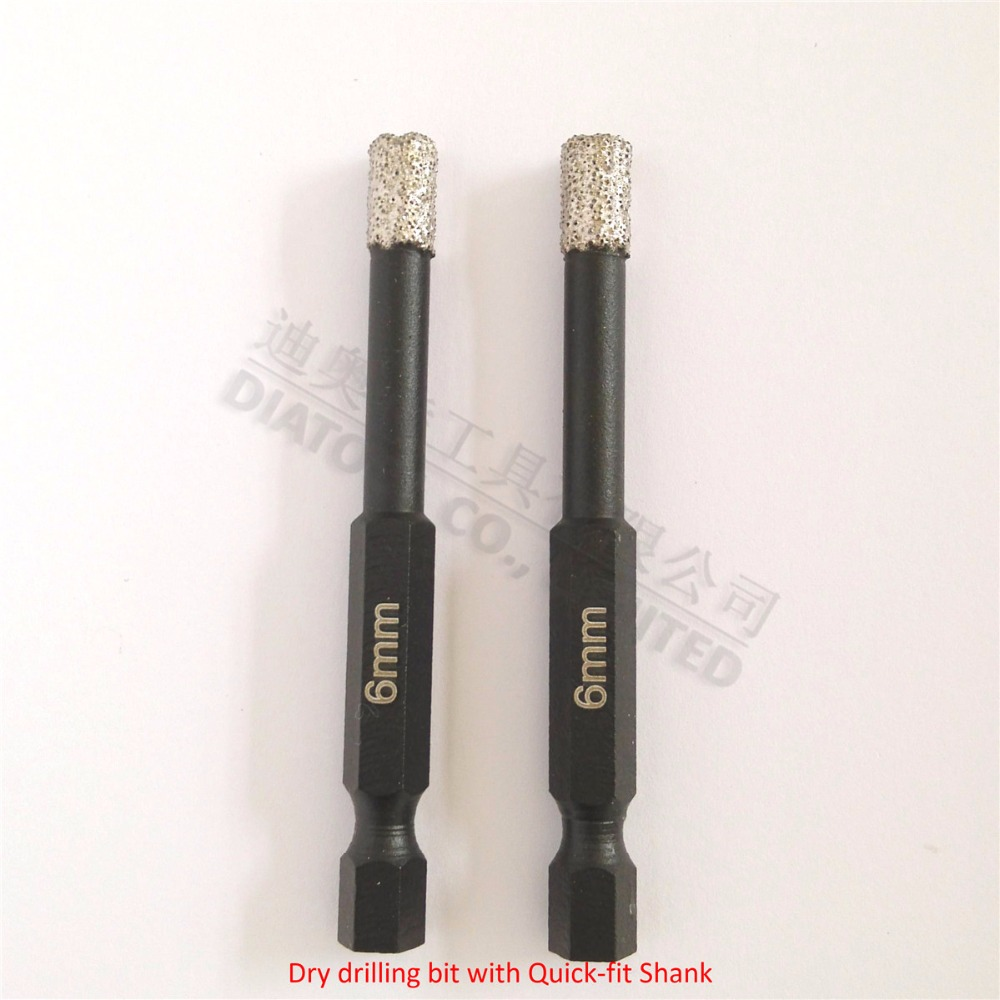 DIATOOL 2pcs Diameter 6mm Vaccum Brazed Diamond drilling bits for Stone Porcelain/tile Masonry Quick-fit Shank 2pcs dia 6mm vaccum brazed diamond drilling bits 10mm round shank dry drilling for stone masonry