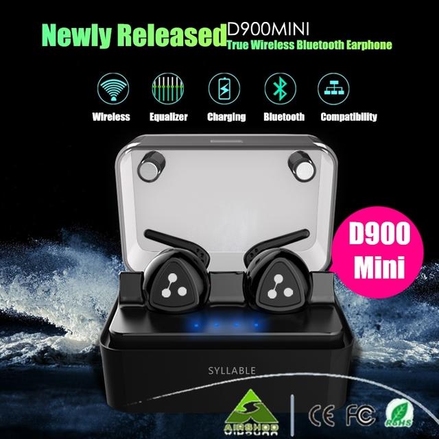 100% Original D900 Recién Estrenada Sílaba Mini Manos Libres Mini Auricular Bluetooth para Auriculares Estéreo de Auriculares De Música Inalámbrica