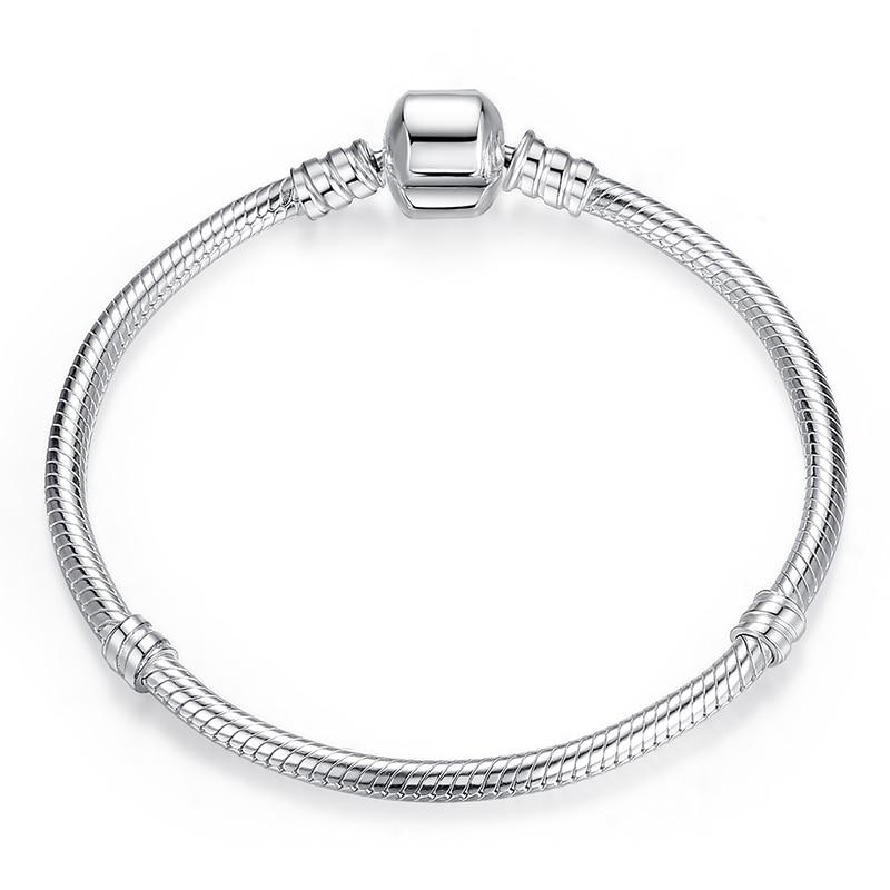 Роскошные 925 пробы Серебряные Оригинальные 3 стильные цепочки браслет для женщин подходит DIY Шарм бисера Аутентичные ювелирные изделия подарок - Окраска металла: FBS902